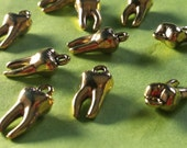 SALE, TOOTH, teeth Charms x 10, tibetan style, antique GOLD tone, reduced, was 1.40, now only 1 pound while stock lasts