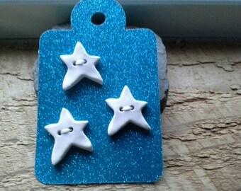 Ceramic Star Button White three