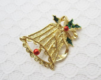 Vintage Christmas Bell Brooch Holiday Jewelry P6285