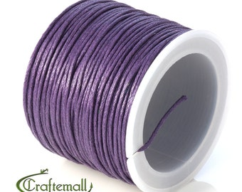SALE 50% OFF: Purple waxed cotton cord - 1mm waxed cotton cord - 1 roll (25meters)