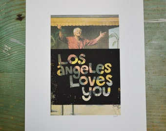 Los Angeles Loves You - Vacation - Linocut - Book Page Art - Hand-pulled - Reclaimed - Repurposed