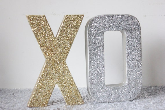 Large xo glitter gold and silver sign letters free standing for Silver letters freestanding