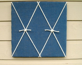 Bulletin Board blue burlap with white knotted macrame cord, nautical beach style memo board for your office, bedroom, cabin or cottage