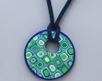 Blue and green retro pendant necklace, polymer clay