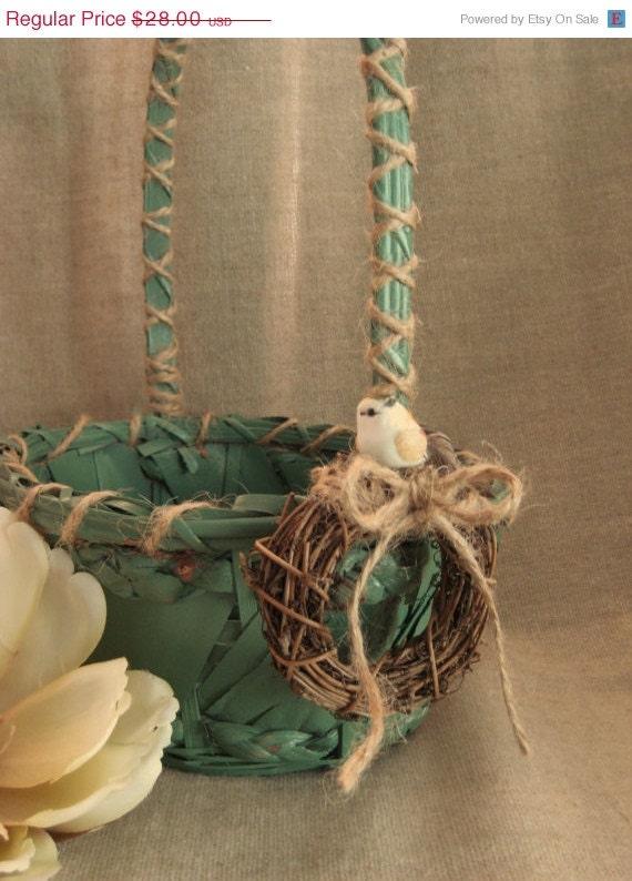 Flower Girl Baskets Green : Green woodland flower girl basket by dewdropdaisies