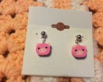 Pig Post Earrings Polymer/Fimo