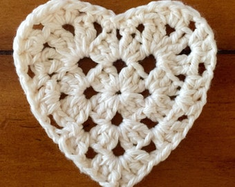 Cream Crochet Heart Coasters