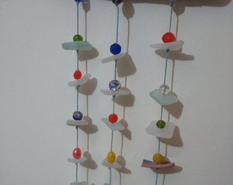 Handmade seaglass and driftwood mobile all collected on Margate beach, Kent, UK