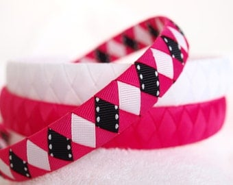 Grosgrain Ribbon Headbands | Pink Black White Headband | Set of 3 Boutique Grosgrain Ribbon Headbands