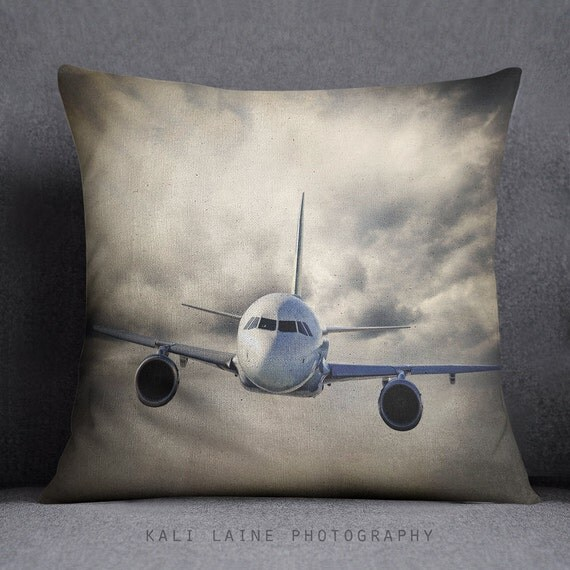 Decorative Airplane Pillow : PLANE THROW PILLOW Cloudy Sky Airplane by KaliLainePrintShop