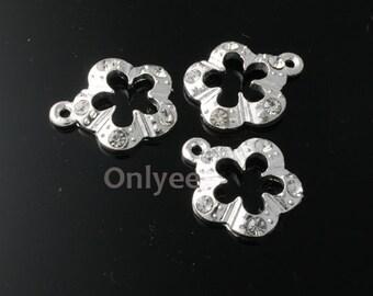 20pcs-17mmX15mm Zircon Flower Charm Silver Plated over Brass(K105)