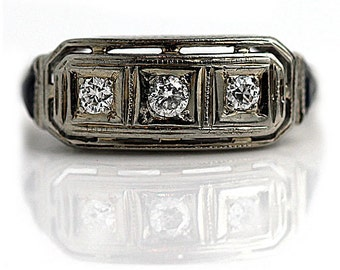 Antique Three Stone Diamond Wedding Ring 0.45ctw Old European Cut Synthetic Sapphire Wedding Band 18K White Gold Anniversary Ring Size 6!