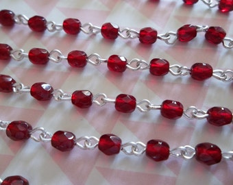 Bead Chain Garnet Red 4mm Fire Polished Glass Beads on Silver Beaded Chain - Qty 18 Inch strand