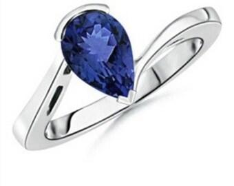 14kt White Gold Ring Natural Tanzanite Pear Shape Cut 1.84cts Gemstone Sizes 4 5 6 7 8 9 10 Half & 1/4 Sizes