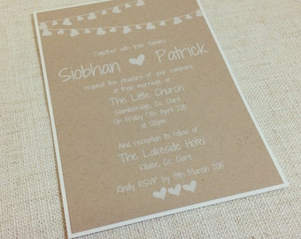 RUSTIC White Ink & Kraft Invitations - Boho bunting Wedding Invitations