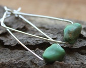 Modern Semiprecious Stone Earrings with Sterling Silver, Rectangle Shaped