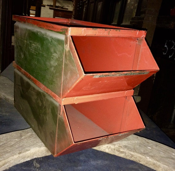 Industrial Stacking Containers : Vintage industrial stacking metal storage bins s stackbin