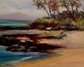 Half Off Sale - Secret Beach, Maui, Hawaii original oil painting by artist Kathy McCartney