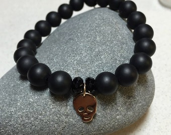 Unisex Black Onyx & Bronze Skull Beaded Stretch Bracelet