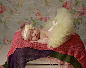 Light Yellow Newborn Tutu and Headband, newborn tutu, baby tutu, newborn photography prop, birthday tutu