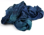 Hand Dyed Silk Scarf - Blue, Green, Emerald, Sea Green