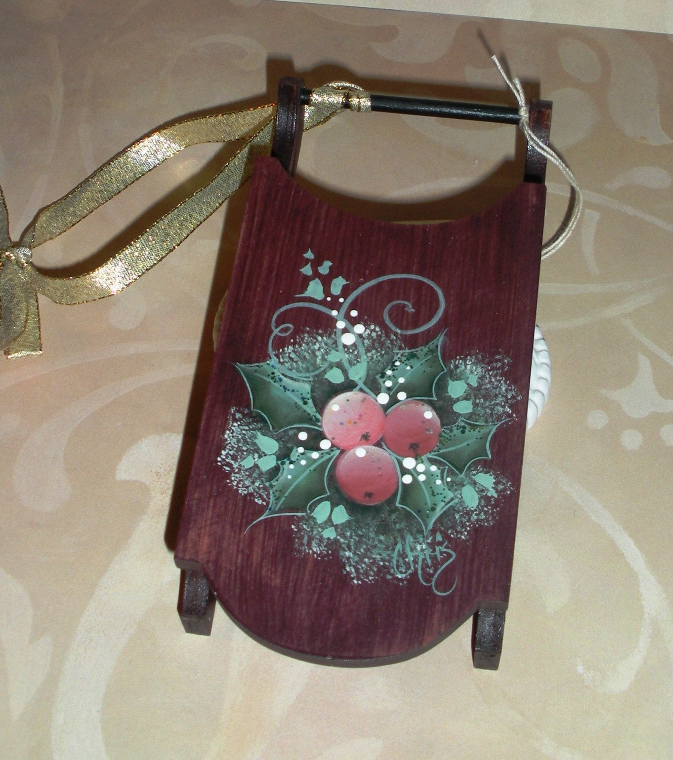 christmas hand painted wooden sled holiday ornament tree