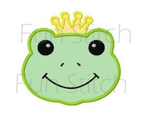 frog prince applique machine embroidery design digital pattern