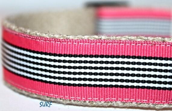 Pink and White Stripe Dog Collar, Adjustable Collar, Girl Dog Collar, Black Stripe Collar