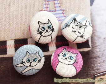 Fabric Covered Buttons (M) - Japanese Kawaii Blue Eyes Cat On Blue and Pink (4Pcs, 0.75 Inch)