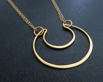 Sideways crescent moon pendant necklace, gold crescent moon necklace, modern abstract geometric design, chic trendy