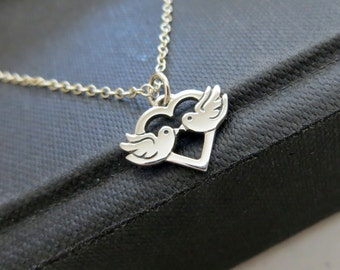 love birds necklace, sterling silver love birds charm necklace, gift for a bride to be, anniversary gift, couple, husband and wife