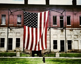 Aluminum Photo Panel:  Fort Adams American Flag 12x18