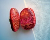 Dichroic Glass Magnets Rich Orange Red Magnet Pair Fused Glass Refrigerator Jewelry Office Magnets Kitchen Magnets Orange Magnets Dicronic