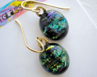 Petite Earrings Black with Green & Gold Flecks Dichroic Glass 14K Gold Earwires Fused Glass Jewelry Color Shifting Sparkle Girls' Small