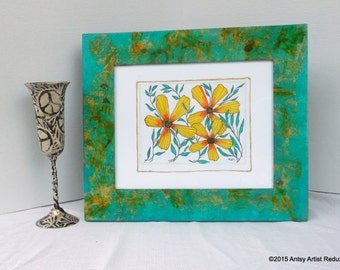Beach Sunflowers art and frame set reuse vegan turquoise wide wood border yellow orange collage includes original beach sunflower drawing