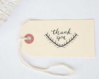 Custom Thank You Stamp with Custom Calligraphy Hand Written Stamp with Wood Handle for Notecards, favors or envelopes