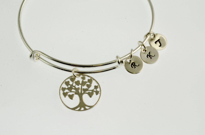 silver adjustable bangle bracelet charm by