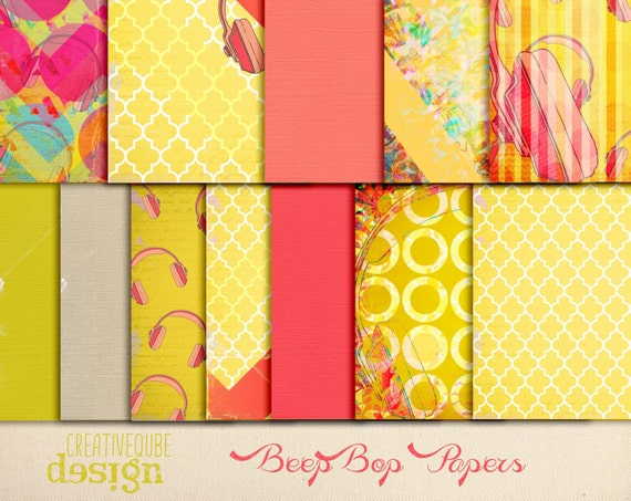 Digital paper, Digital Scrapbook paper pack - Instant download - 12 Digital Papers - Beep Bop