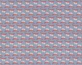 Grey Red and Cream Fox Head Fabric, Hilltop by Wee Gallery for Dear Stella, Fox Heads in Steel, 1 Yard