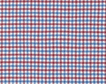 Red White and Blue Americana Checked Gingham Mammoth Plaid Flannel By Robert Kaufman, 1 Yard