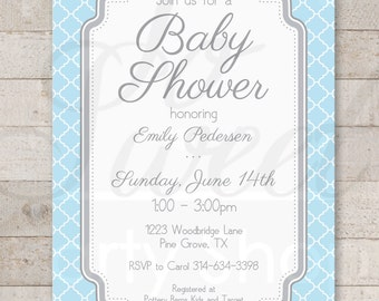 Boys Baby Shower Invitations - Blue and Gray - Boy Baby Shower Decorations - Boy Baby Shower Invites - Set of 12