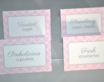 Girls Baby Shower Food Label Tent Cards - Buffet Labels - It's A Girl Baby Shower Decorations - Pink and Gray - Set of 12