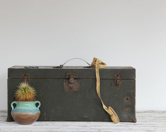 vintage large industrial metal box / army green storage box
