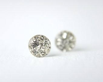 tiny glitter post earrings on sterling silver posts, tiny earrings, tiny post earrings, glitter post earrings, tiny studs