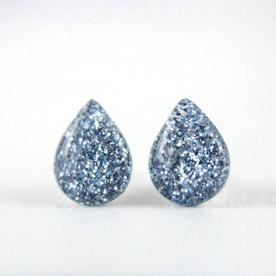 rain drop post earrings with light blue glitter on sterling silver posts, fun earring, unique earring, light blue earrings, stocking stuffer