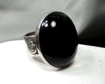 Black Calcedony with Flecks of Gold  Ring, Sterling Silver with Swirl on Side