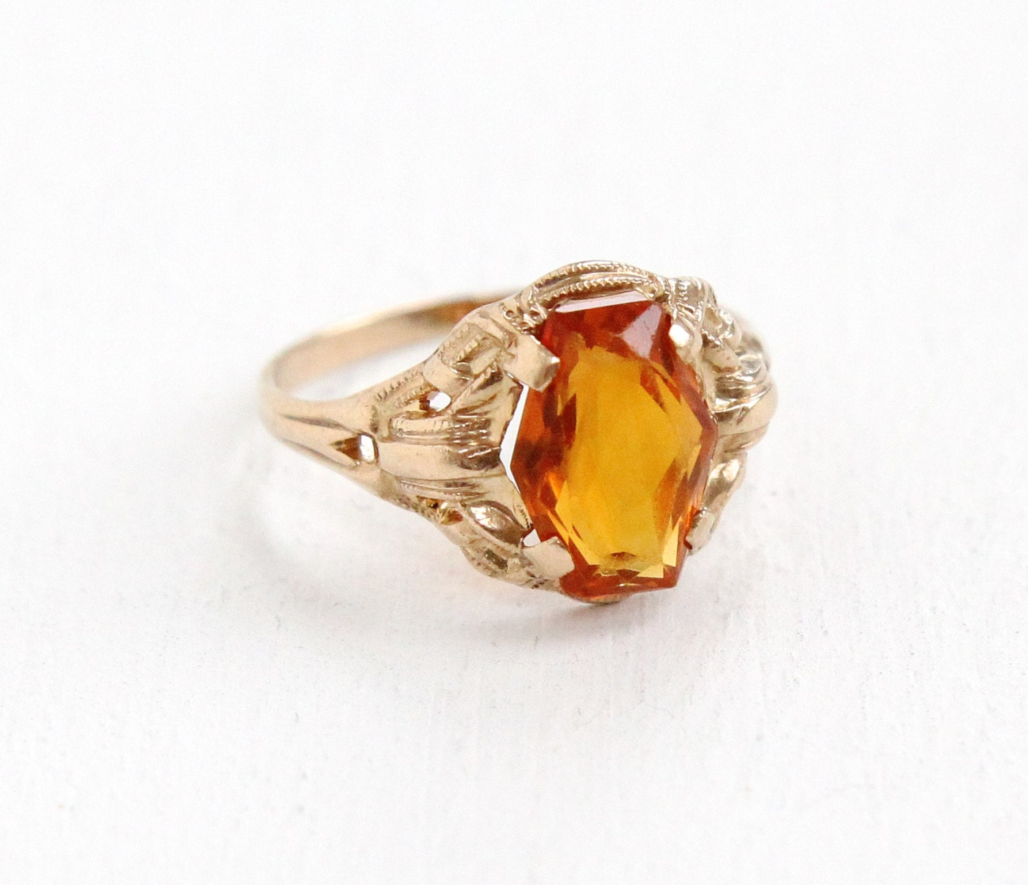sale vintage 10k yellow gold citrine ring size 4 deco