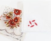 2 Vintage Handkerchief with Red Flowers      -   X2