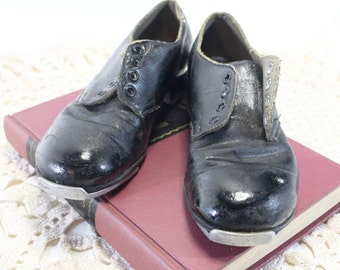 Vintage Child Tap Shoes, Black Leather, Oxford Style with taps attached
