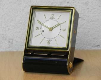 Jaeger LeCoultre 8-Day Folding Black & Brass Alarm Clock